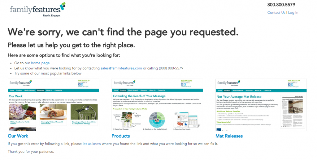 404 Page Tips - custom 404 page